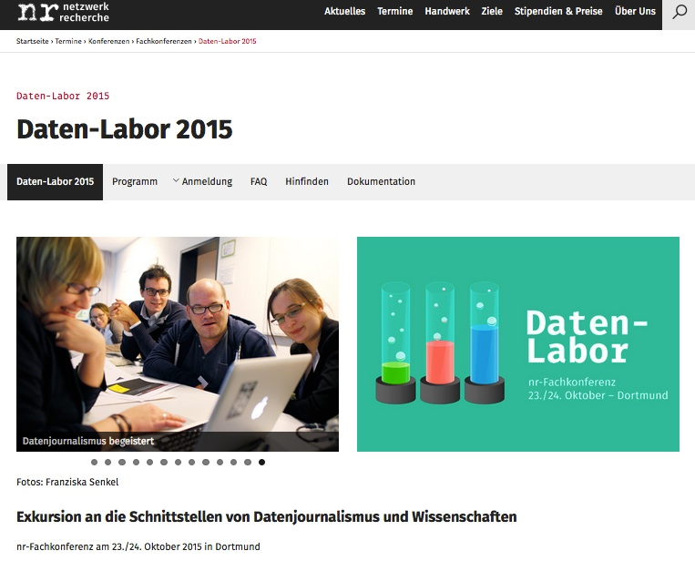 netzwerk-recherche-Seite zum Daten-Labor 2015